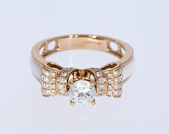 6.00 mm VVS-EF White Moissanite 0.32 ct Natural vs/si-gh Diamond | 10KT/14KT/18KT Rose Gold IGI Certified Ring with White Mother of Pearl