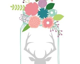 Mason Jar Watercolor Horns - Printable - Digital file - mason jar - antlers - art print - floral