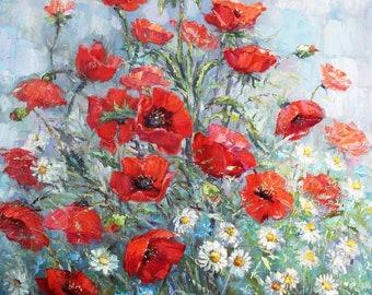 Red poppies painting Original Impressionist oil painting Red poppies art Red flowers painting Impressionist art Floral wall art Artwork