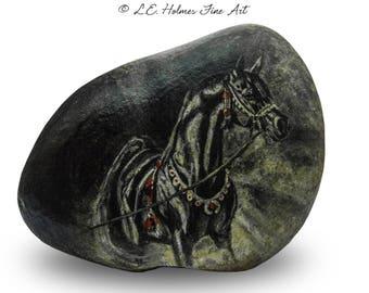 Black Arabian Stallion Painted on Stone | Rock Painting Art