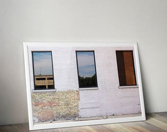 Brick Wall and Windows Photograph