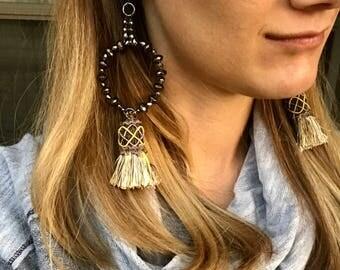 Large Statement Earrings, Beaded Tassel Earrings, Tassel Hoops, Hoop Earrings, Handmade Earrings, Yellow Tassel Earrings, Beaded Hoop Tassel