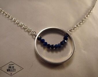 "925 sterling silver necklace thousandths ""Lapis lazuli rimmed"""