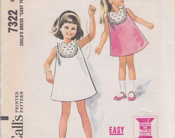 Vintage 1960s sewing pattern -- little girls' sleeveless dress size 5