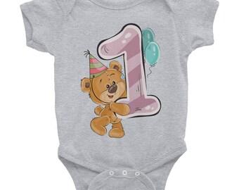 1st Birthday Adorable Teddy Bear Happy Birthday Gift Infant Bodysuit