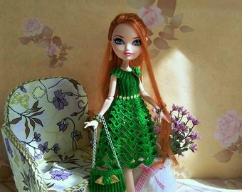 Monster High Dresses Green leaf GalactikaMagicThread: Ever After High and Monster High fashion doll crochet