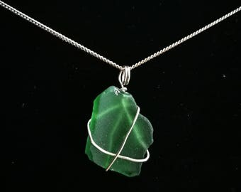 Wire wrapped green sea glass pendant