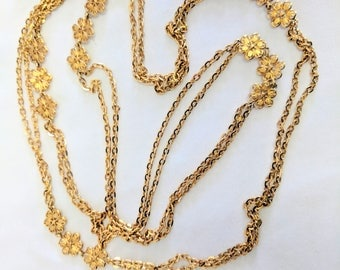 Monet 52 inch gold tone chain double strand flowers vintage