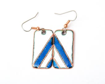 Blue and white Earrings - Geometric Enamel Earrings - Blue white Copper enamaled Earrings - Free shipping