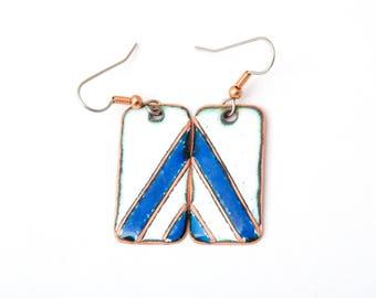 Blue and white Earrings - Geometric Enamel Earrings - Blue white Copper enamaled Earrings - Free shipping