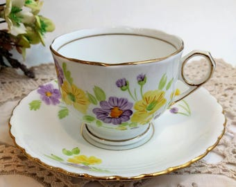 Vintage phoenix England Teacup and Saucer Set with Purple and Yellow Flowers Floral Bone China Retro