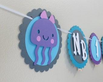 Under The Sea First Year Photo Banner - Month Photo Banner - Mermaid Ocean Newborn to 12 months Jellyfish