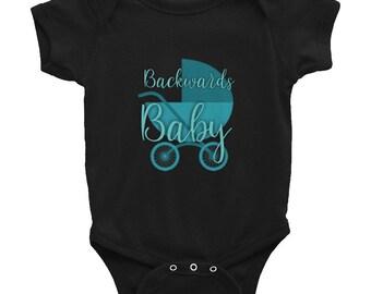 Backwards Baby Logo Onsie