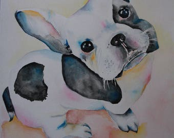 watercolor & ink french bulldog puppy