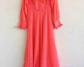 Vintage 70s hot pink coral silk ruffle maxi dress
