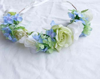 baby blue green floral crown - [bridal, hydrangeas, open-back crown]