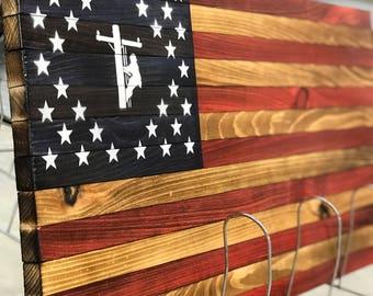 Lineman Rustic American Flag Wooden