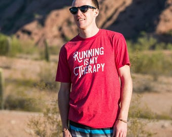 Running is my Therapy Triblend T-shirt - Men's - Red