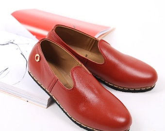 Red Leather Zahir Shoes