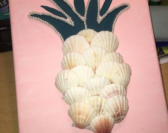 Pineapple made out of  scallop shells