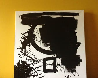 Black and White Canvas and Oil Painting 19inx19in