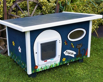 Cat House with Cat flap, outdoor, outdoors, isolated