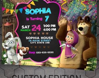 Masha and The Bear Birthday Party Invitation Printable, Masha y el Oso