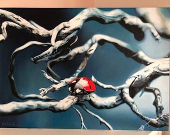 LadyBird - Oil paninting on canvas 70x50cm