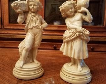 Pair of Alexander Backer Chalkwork Figurines