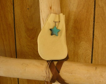 "Star leather pouch, cream leather with adjustable cord drawstring neck cord, stone star charm, pouch is 4.75"" x 3"""