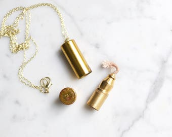 Vintage Antique Brass Lipstick Tube Lighter Necklace | Princess Eve Products Corp Number 3