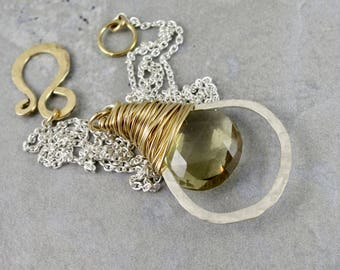 Lemon Quartz And Mixed Metal Wrapped Hoop Necklace