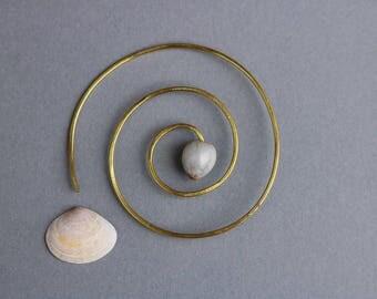 large spiral earring with Job's tears seed - hammered brass geometric thread hoop - sacred geometry - single earring
