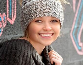 Crochet Messy Bun Hat Handmade- Messy Bun Beanie With Elastic - Striking Stitch Combination - Made To Order