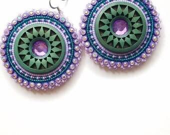 Purple & Teal Native Beaded Earrings