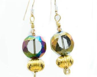 Set of earrings Cosmic Glass on Gold Swarovski Glass set Gold Plated Global