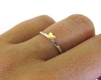 Sweet Heart Ring, Stackable Heart Ring, dainty gold heart or silver heart stacking ring