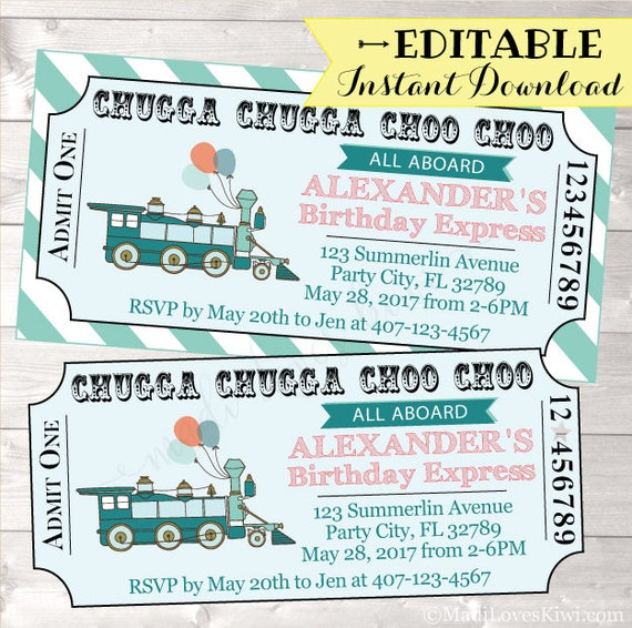 Train birthday invitation train ticket birthday invitation boy il570xn maxwellsz