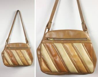 Tan Striped Bag with Camel Brown, Sienna, Beige Diagonal Wide Stripes - Shoulder Strap, Large Pockets, Faux Leather Vinyl - Vintage 70s