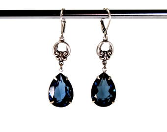 Victorian Style Earrings in Antiqued Silver with Sapphire Blue Swarovski Crystal Stones Pear Teardrop Prong Set Antique Style Flourish