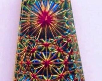 German Foil Glass, Kaleidoscope Pendant, #6177, 32mm X 16mm (LARGE), Volcano