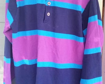 Vtg 80s Striped Long Sleeve Polo Shirt Size Large L