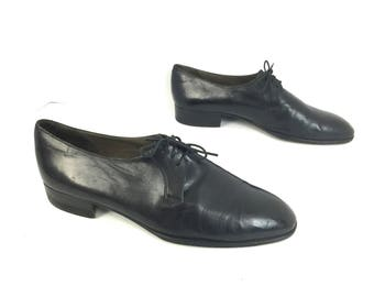 BALLY Mens US 9 Black Leather Lace Up Vintage Oxfords Formal Dress Made In Italy Shoes