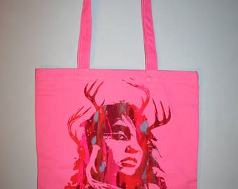 hand silkscreened tote, unique gift, multicolor print, shaman girl tote, pink bag, art on tote, one of a kind