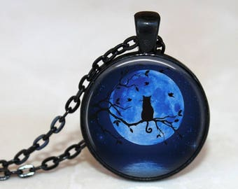 Blue Moon Kitty - Full Moon and Cat on a Branch Pendant, Necklace or Key Chain - Choice of 4 Colors - Fall, Halloween, Space