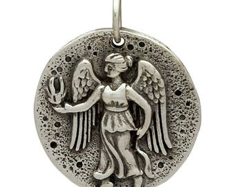 Guardian Angel - Sterling silver coin pendant, greek goddess nike, charm, jewelry, victory gift for her, athlete, sports medal