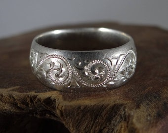 Hand Forged and Engraved Sterling Silver Ring in Western Brightcut