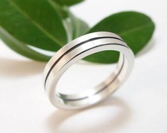 Wedding Band - Bauhaus Modern Wedding Band, Silver Wedding Band, Silver Wedding Ring, Men's Wedding Band, Women's Wedding Band