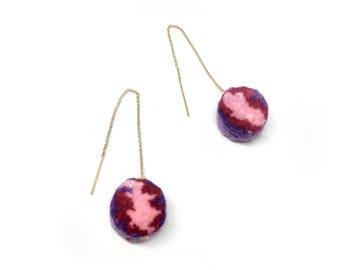 Mini Pink and Purple PomPom Threader Earrings