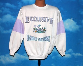 Exclusive Fashion Network White Pullover Sweatshirt Large Vintage 1980s